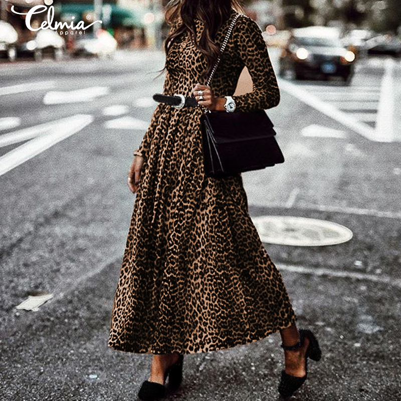 Women's Dress Fashion Ladies Retro Leopard Print Dresses 2019 Celmia Round Neck Long Sleeve Casual Pleated Maxi Vestidos S-5XL