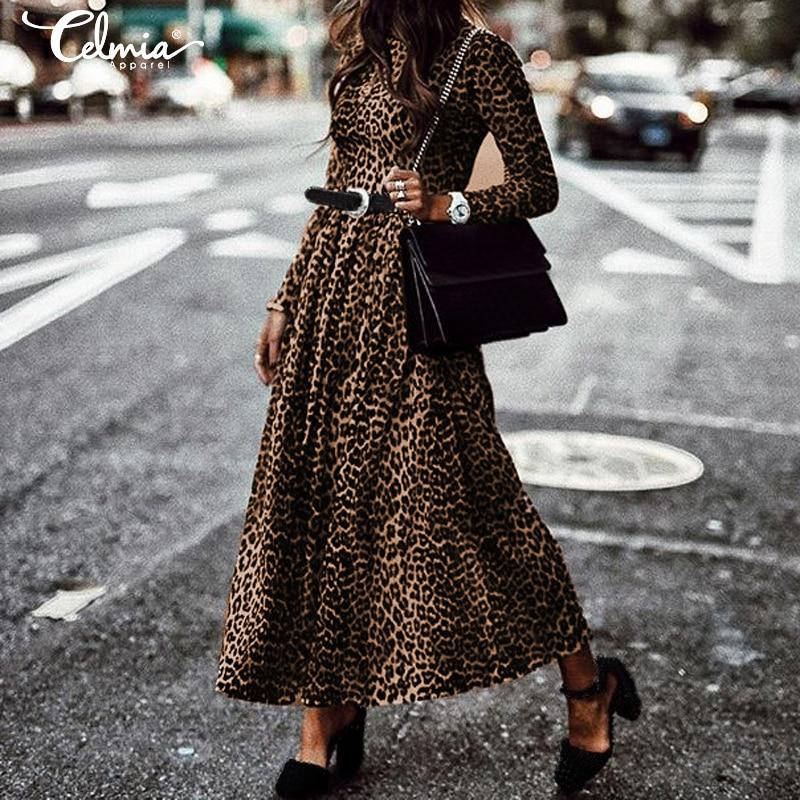 Women's Maxi Dress Fashion Ladies Retro Leopard Print Dresses 2020 Celmia Round Neck Long Sleeve Casual Pleated Vestidos S-5XL