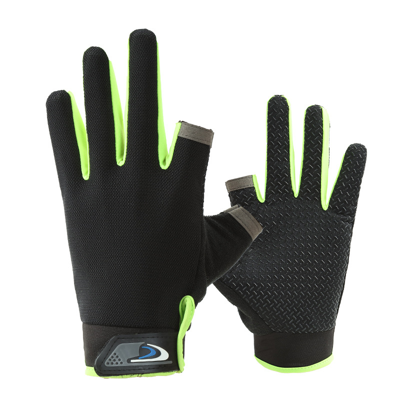 Fishing Gloves Breathable Thin Section Fingerless Summer Riding Fishing Ice Silk Leaking Two Fingers and A Half Fingers Pesca
