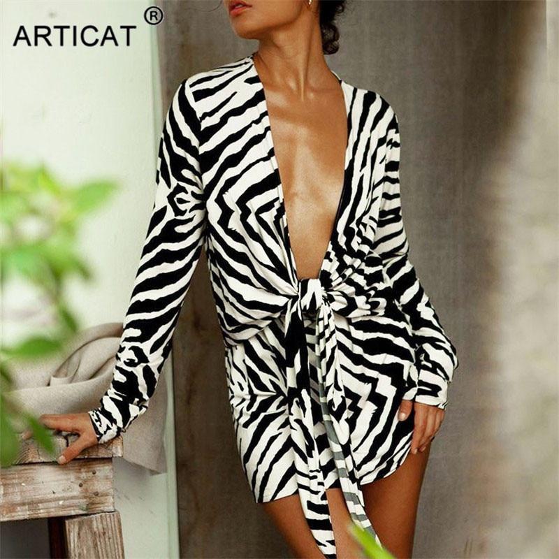 Articat-Vestido camisero estampado de cebra para mujer, prendas de vestir con cuello en V, manga larga, ropa de playa para otoño, camisas estampadas