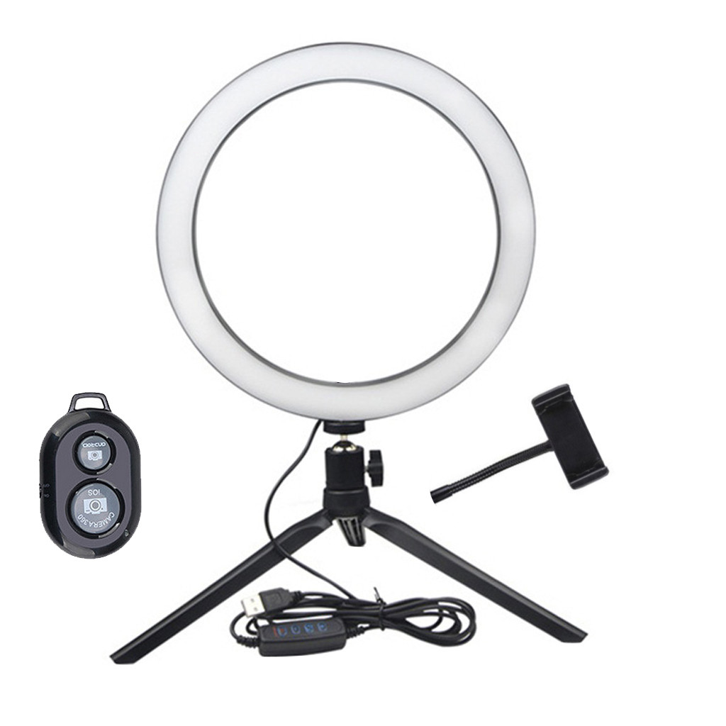 LED Ring Fill-Light Lamp Selfie Camera Phone Studio Tripod Stand Video Dimmable