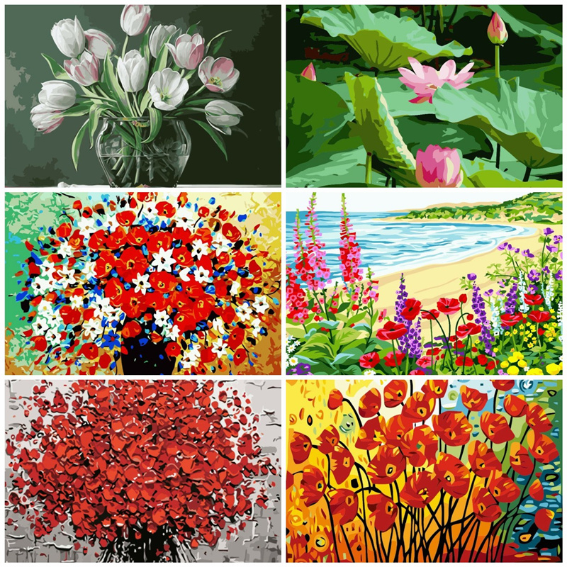 AZQSD Oil Painting By Numbers Flowers Hand Painted Canvas Wall Picture Modern DIY Floral Wall Art Home Decoration YHGC116