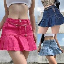 Jeans Skirts Y2K Streetwear-Bottom High-Waist Women Pleated Zipper