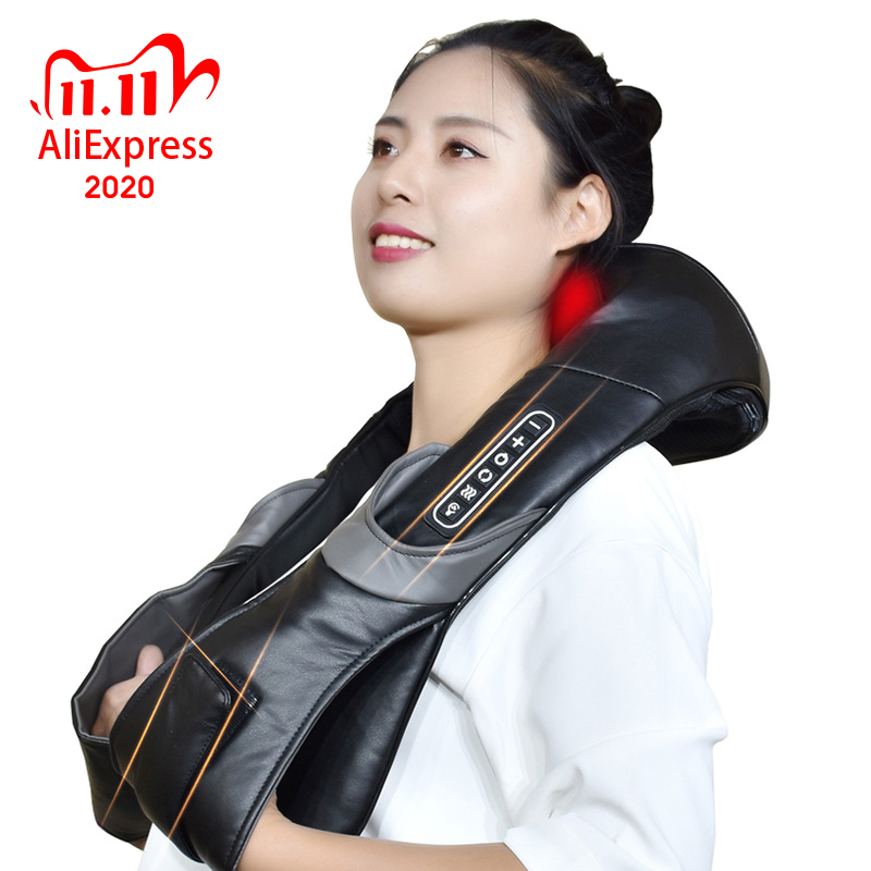 Electric Neck Roller Massager for Back Pain Shiatsu Infrared Lamp Massage Pillow GuaSha Products Bod