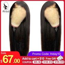 Alibd 13x6 Синтетические волосы на кружеве парики из натуральных волос на кружевной основе бразильские человеческие волосы, прямые волосы Remy средней соотношение натуральный Цвет парики для чернокожих Для женщин