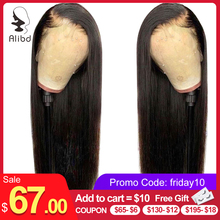 Alibd 13×6 Lace Front Human Hair Wigs Brazilian Human Hair Straight Remy middle ratio Natural Color Wigs For Black Women