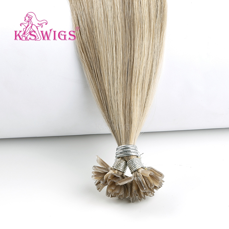 K.S WIGS Straight Pre-bonded Keratin Nail U Tip Remy European Human Hair Extensions Highlight Piano Color 16'' 20'' 24'' 28''