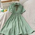 2021 New Dress Women Chiffon Solid High Waist Popular Summer Holiday dresses