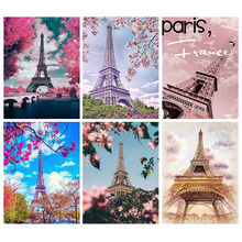 Full Square Diamond Painting Paris Tower 5D DIY Mosaic Embroidery Landscape Decor Home Picture Of Rhinestone Sale