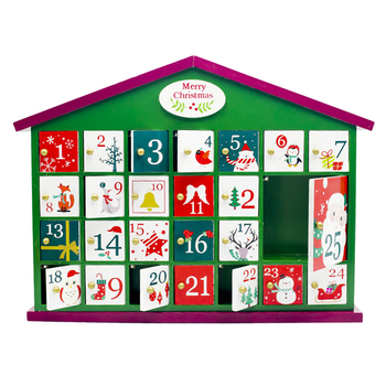 Wooden House Countdown Calendar Advent Calendar Gift Box For Christmas Decor Prop - Green House Without Accessories Xmas Gift