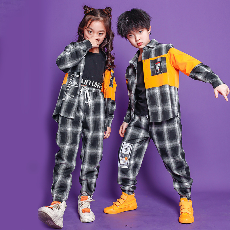 Kids Festival Hip Hop Outfits Plaid Casual Pants Dancing Clothing Girl Boys Carnival Jazz Dance Costume Clothes Wear
