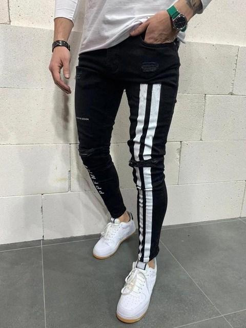 Jeans Men Skinny Striped Zipper Denim Vintage Hip Hop  3