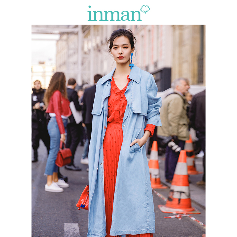 INMAN  Turn Down Collar Retro Hongkong Style Fashion Casual Loose Blue Women Long Coat