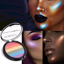 6 farben Highlight Regenbogen Lidschatten-palette Hochglanz Lidschatten Pulver Make-Up Pallete Faul Erröten Perle Licht Frauen Schönheit Box