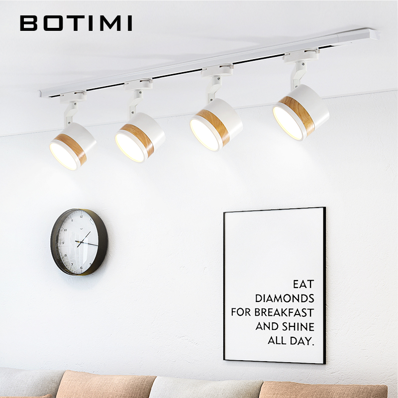 BOTIMI 220V LED Ceiling Lights With Track For Living Room Black Adjustable Office Surface Mounted Lighting