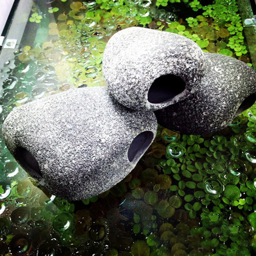 1piece Aquarium Cichlid Stone Ceramic Rock Cave Fish Tank Pond Shrimp Breeding Ornament Decor Accessories