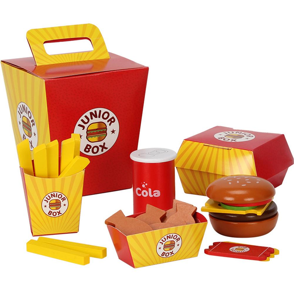 Children Pretend Play Food Toy Wooden Fast Food Burger Fries Food Toy Set Fast Food Deluxe Dinner Set