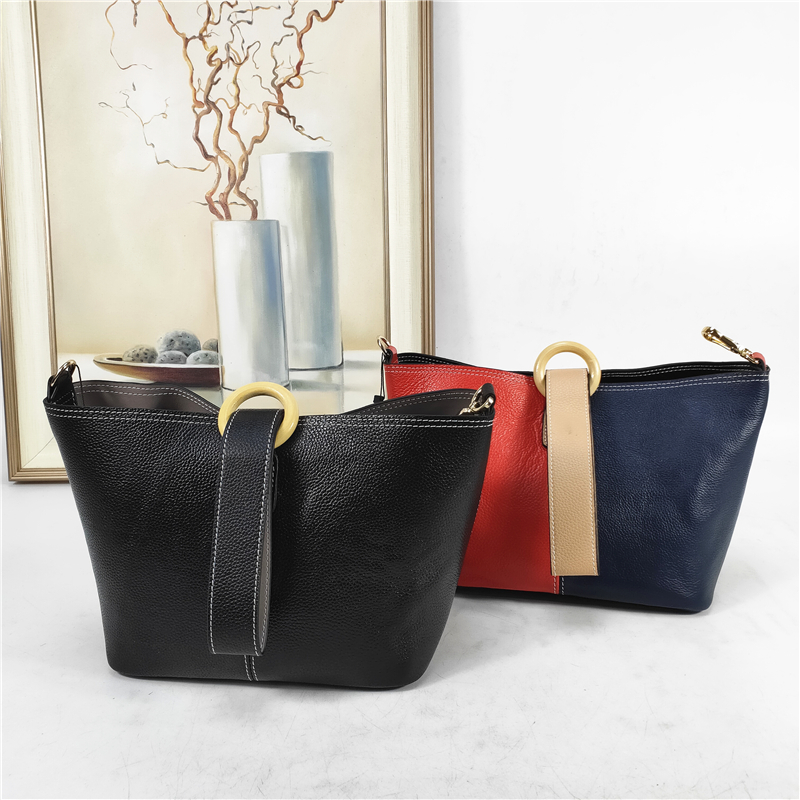 B01-021 Woman Genuine Leather Bucket Shoulder Bags Buckets Most popular in European sling bag with Canvas Strap