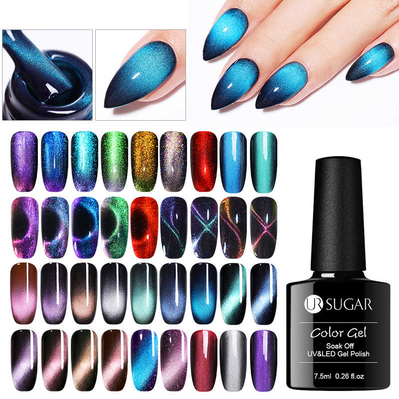 UR Gula 9D Cat Eye Uv Gel Cat Kuku Gemerlapan Langit Magnetic Gel Polish Rendam Off Semi Permanen Kuku Seni bahasa Polandia