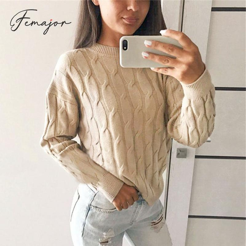 Femajor Women Solid Color Pullovers 2019 Autumn Winter Long Sleeve Knitted Tops Female Warm Braids Jumpers Sweaters Ladies