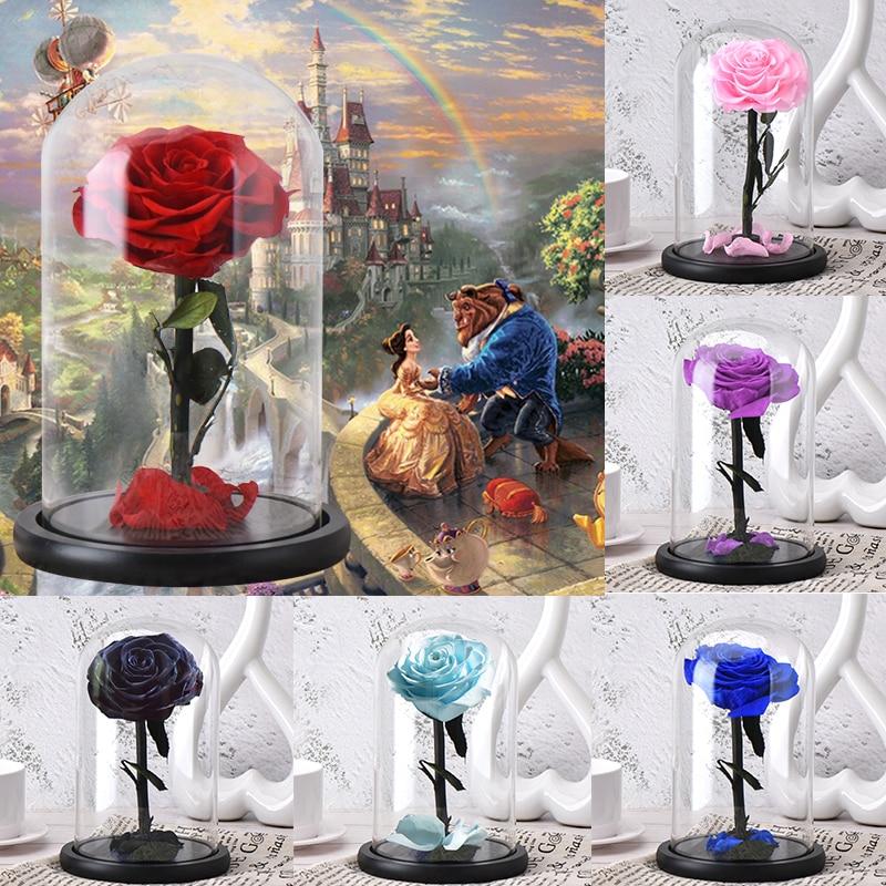6 arten Großhandel Die Schönheit und Das Biest Frische Blumen Rot Ewigen Rosen In EIN Glas Dome Valentinstag Weihnachten Geschenk dropshiping