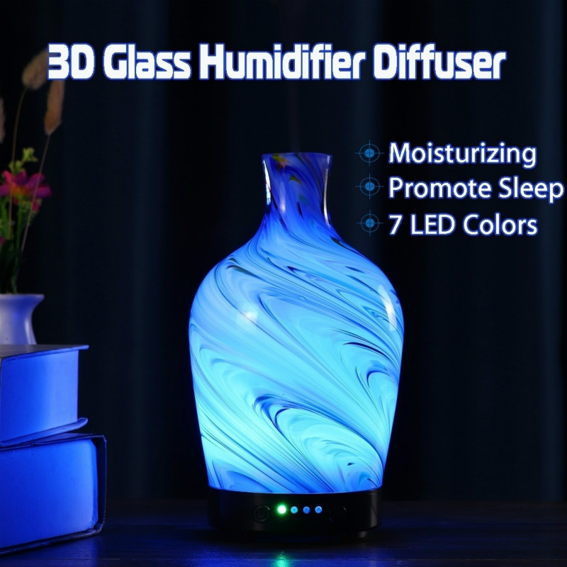 Glass Aromatherapy Essential Oil Diffuser Cool Mist Humidifier 7 Color Changing LED Lights For Home Office Bedroom Living Room