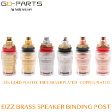 EIZZ High End 24K Gold Plated Brass Binding Posts Socket connector For Hifi Speaker Audio Video TV CD AMP Panel Chassis Mount