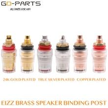 EIZZ conector de clavija de enlace de Latón chapado en oro de 24K, conector para altavoz Hifi, Audio, vídeo, TV, CD, Panel de chasis montura