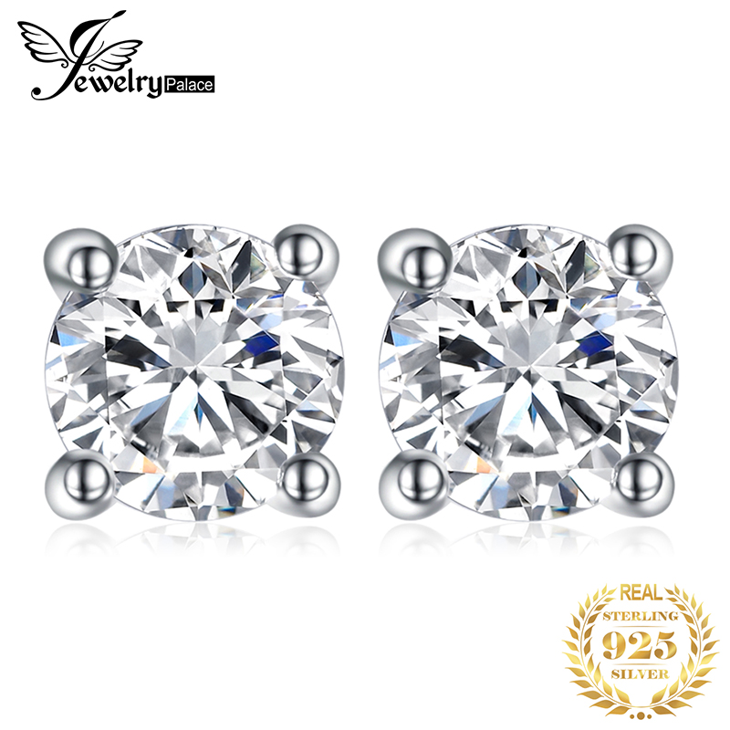 Round 1ct Simulated Diamond CZ Stud Earrings 925 Sterling Silver Earrings For Women Girls Korean Earrings Fashion Jewelry 2020