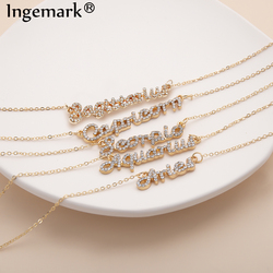 Temperament 12 Zodiac Constellation Crystal Pendant Necklace Simple Scorpio Aries Clavicle Chain Necklaces Sexy Couple Jewelry