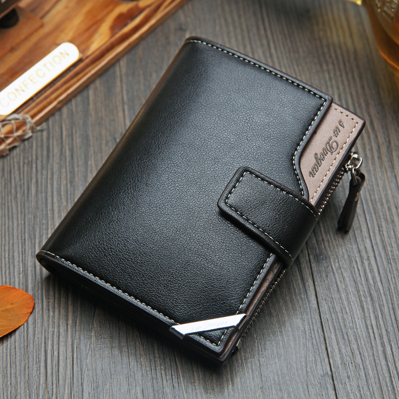 New Men's Wallet Short Vertical Locomotive British Casual Multi-function Card Bag Zipper Buckle Triangle Folding