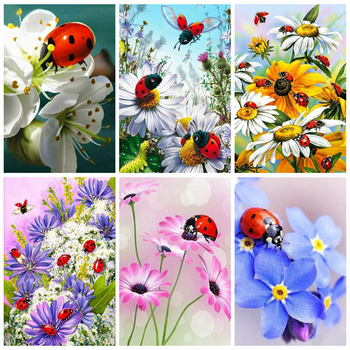 HUACAN 5d Flowers Diamond Painting Full Drill Square Picture Of Rhinestones Embroidery Ladybug Home Decoration Gift - discount item  32% OFF Arts,Crafts & Sewing
