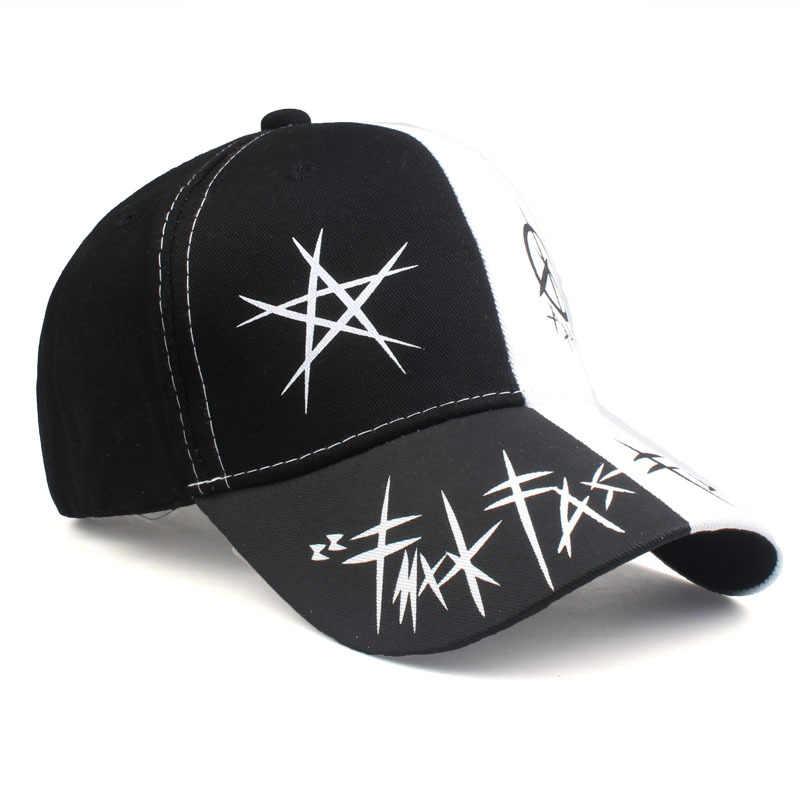 Kpop Unisex pamuk baba şapka siyah beyaz beyzbol şapkası özel Graffiti Snapback moda spor delik erkekler kadınlar için hip hop şapka