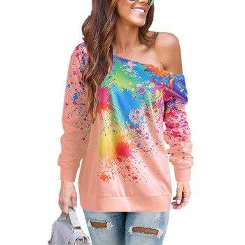 ¡Envío gratis! ¡Nuevo! Jersey de otoño e invierno con estampado oblicuo de pintura en aerosol para hombros, camiseta para mujer NZ023