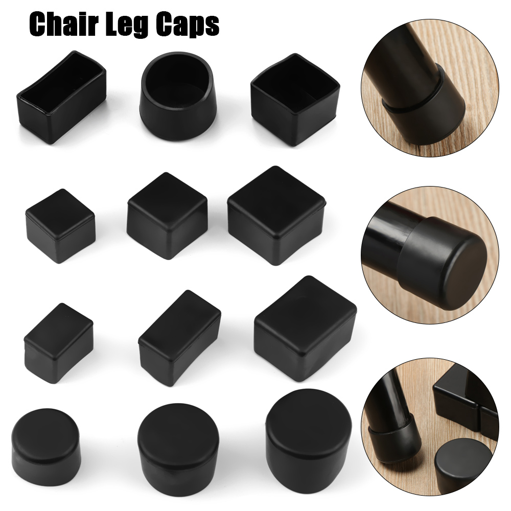 4pcs/Set Black Silicone Chair Leg Caps Non-slip Table Foot Cover Socks Floor Protector Pads Plugs Furniture Leveling Feet Mat
