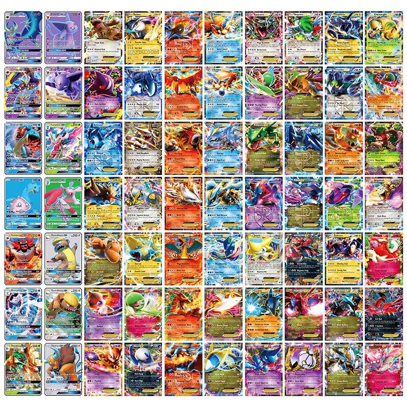 Novo pokemon cartões 60ex 20gx 20mega versão em inglês sem repetição brilhando jogo coleção batalha carte tadirng cartão crianças brinquedos