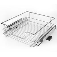 Juego de cestas de almacenamiento extraíbles de acero inoxidable, organizador de armario, cajón, soporte de canastos, envío directo, HWC