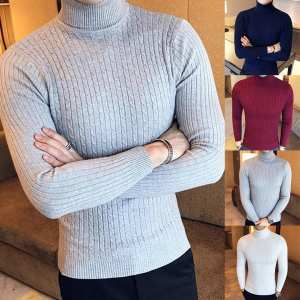 Knitted Sweater Pullover Turtelneck Long-Sleeve Male Winter Men's Basic Slim Solid