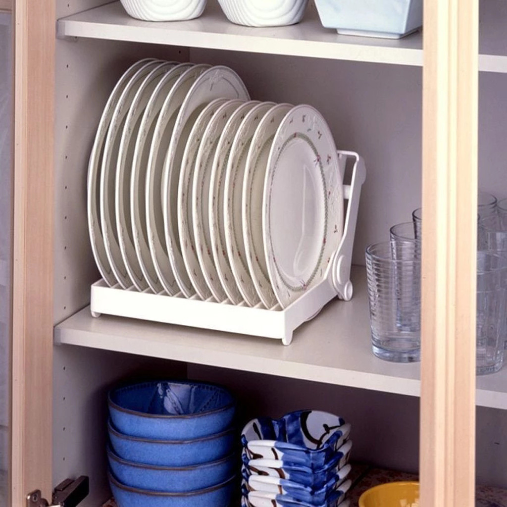 Organizer Storage-Plate-Holder Dish-Plate Drainer Drying-Rack Kitchen Foldable Plastic title=