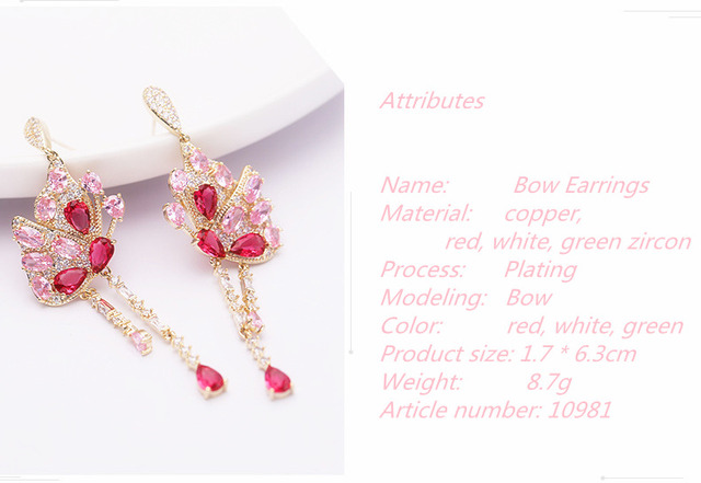 earings jewelry earrings for women earings fashion Red diamond earring Colored zircon wedding Butterfly long emerald.jpg 640x640 - earings jewelry earrings for women earings fashion Red diamond earring Colored zircon wedding Butterfly long emerald 10981