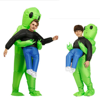 Inflatable Green Alien Costumes Halloween Cosplay Suit Adult Child Festival Party Supply Blow up Suits Holiday Carnival Costumes new lovelive sunshine cosplay costumes ohara mari swimwear cosplay costumes halloween carnival party women cosplay costumes