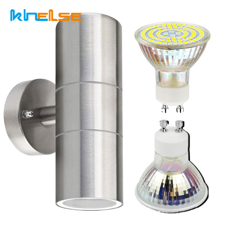 Modern Stainless Steel wall light Up Down Double heads Wall lamps IP65 Outdoor/indoor GU10 Wall Sconce Lamp 90-260V house decor
