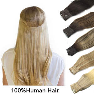 Straight Hair Extensions Invisible Headband Natural Flip Hidden Secret Wire 4 Clip One