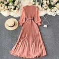 Винтажное женское Плиссированное длинное платье, элегантное женское платье с длинным рукавом-фонариком и высокой талией, красное/фиолетов...