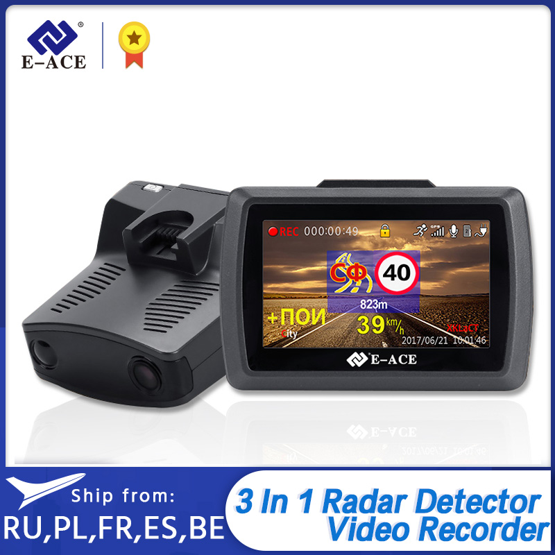 E-ACE G07 Dashcam 3 IN 1 Auto <font><b>Dvr</b></font> 3,0 Zoll <font><b>Video</b></font> Recorder FHD 1296P Dash Kamera Radar Detektor Navigation auto Registrator image