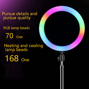 Image 5 - 33cm RGB Ring Light with Phone Clip Dimmable Selfie Light Portable Makeup Lamp LED Desk Fill Light for Smartphone
