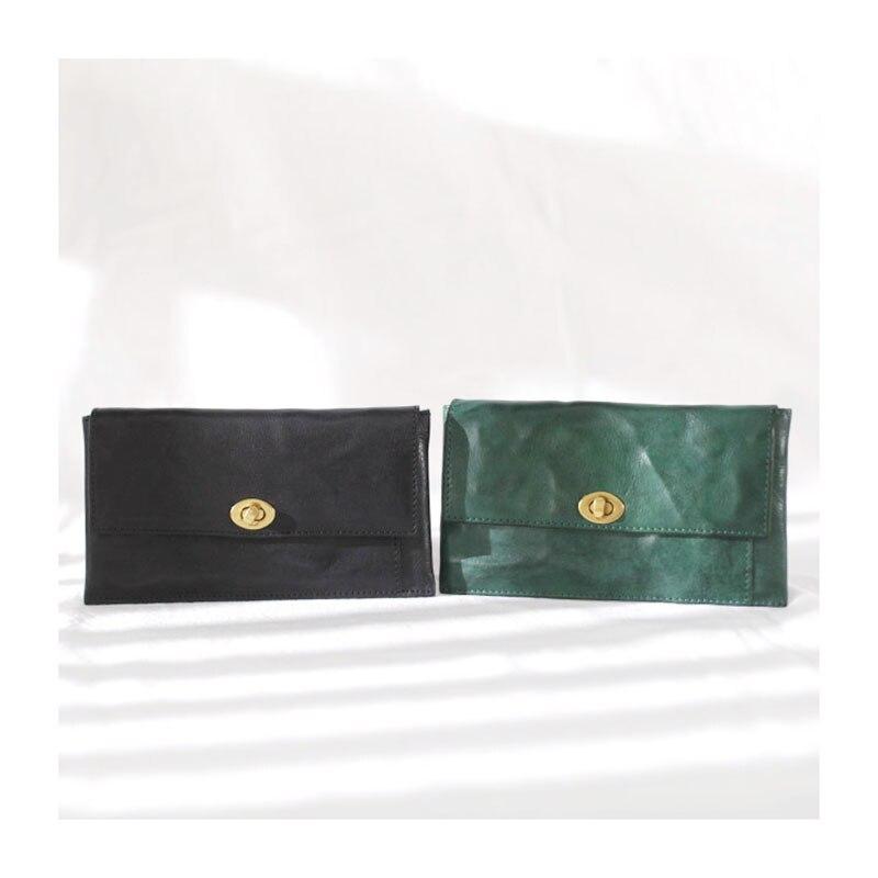 Eumoan vintage couro fivela longa dismered carteira,