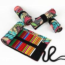 Pencil-Bag-Case Wrap-Holder Storage-Pouch Curtain Roll-Pen Makeup School-Supplies Leaves