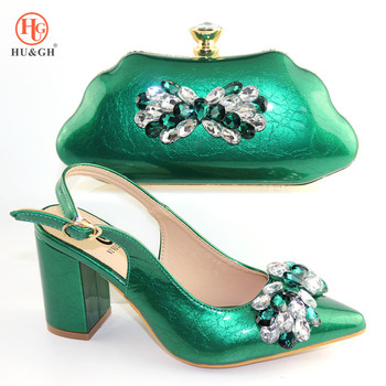Green Color Shoe and Bag Set New 2019 Women Shoes and Bag Set African Wedding Sandals Italian Shoes with Matching Bags Set