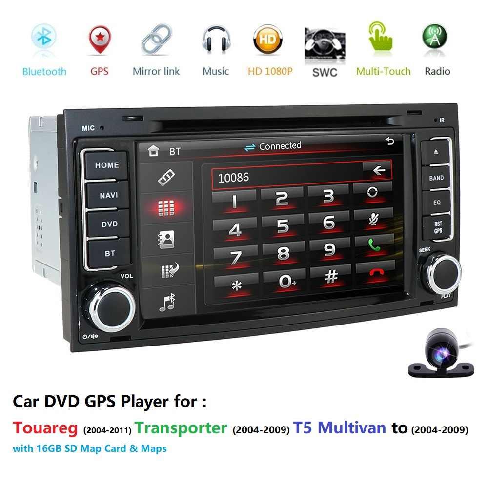 2 din 7 インチ車の DVD VW トゥアレグマルチバン (2002-2010) GPS Bluetooth ラジオ RDS USB DAB SD ステアリングホイール Canbus 送料 8 グラムマップカメラ
